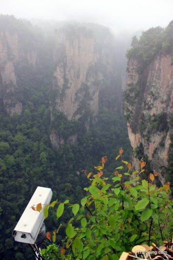 Camera overlooking rocks in ZhangJiaJie