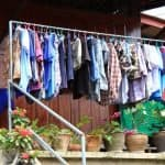 Clothes hanging outside the house