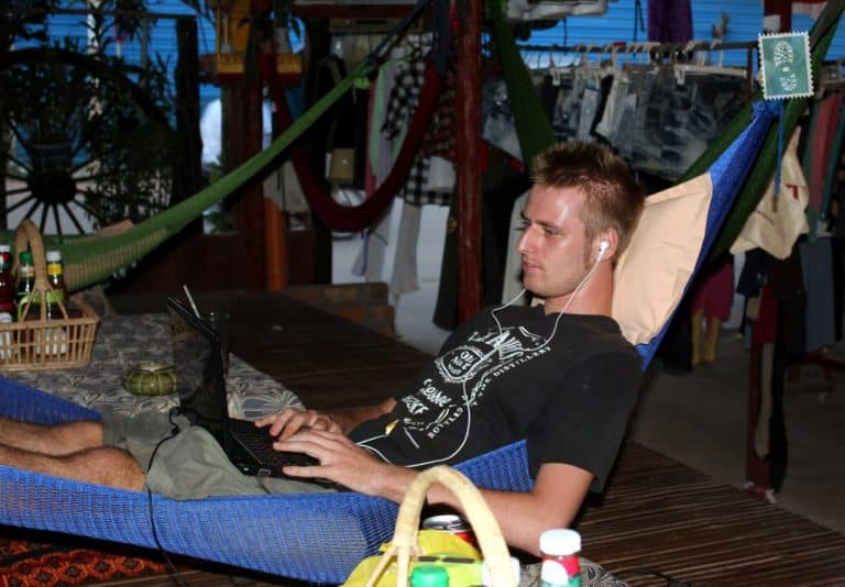 Working on a hammock at Orchidae Guest House, Siem Reap, Cambodia