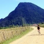 Cycling back from Blue Lagoon to Vang Vieng