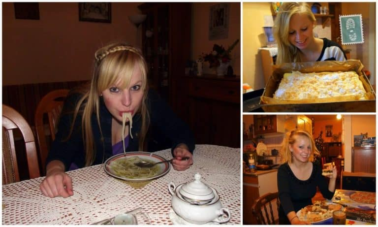 A girl is eating a Polish food and cakes