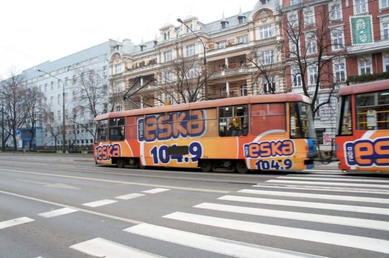 A typical streetcar in Wroclaw