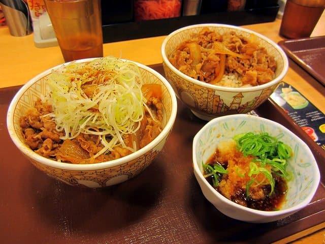 Different kind of gyūdon at Sukiya