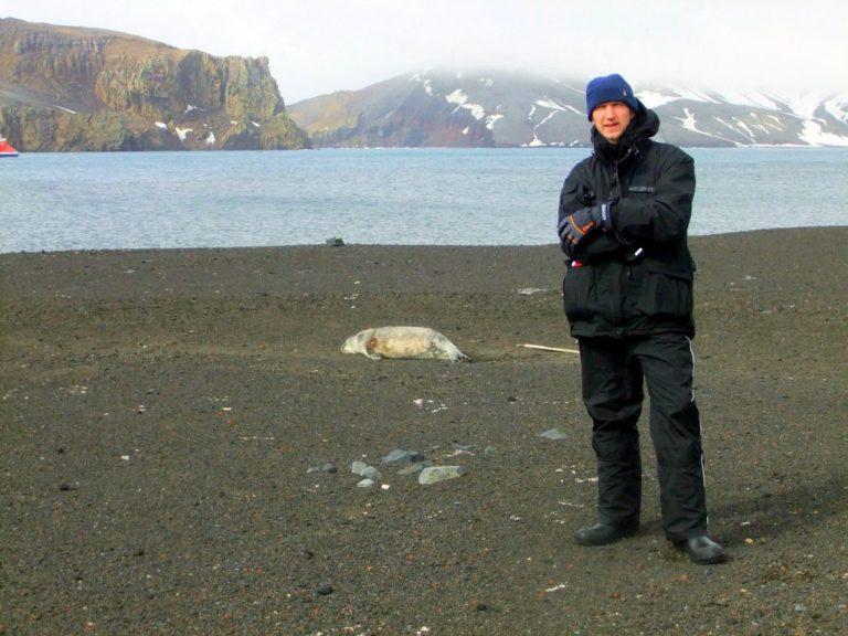 Jonny Blair at Whalers Bay - Antarctica
