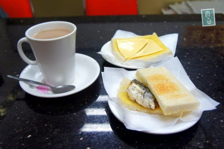 Hot chocolate, cheese toast and fish toast