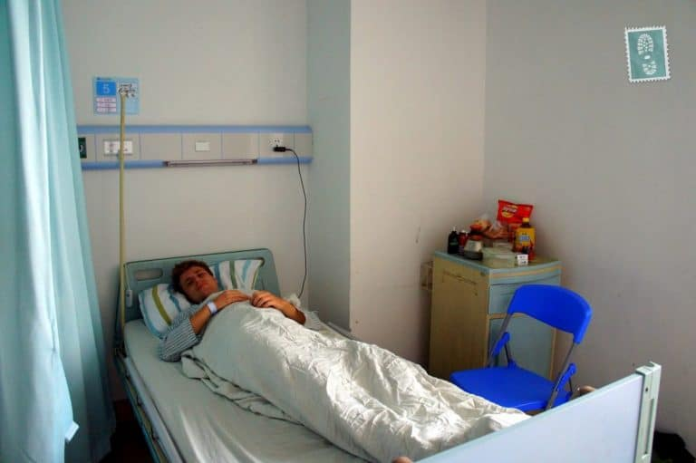 A boy is resting in the hospital