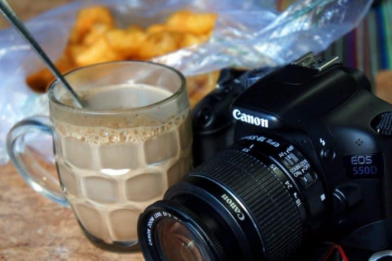 camera and hot chocolate