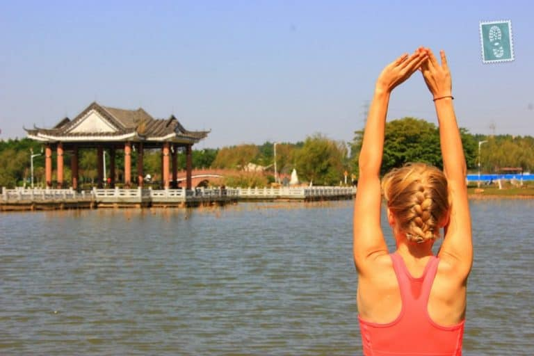 Morning yoga stretch at Songshan Lake, Dalang, Dongguan.