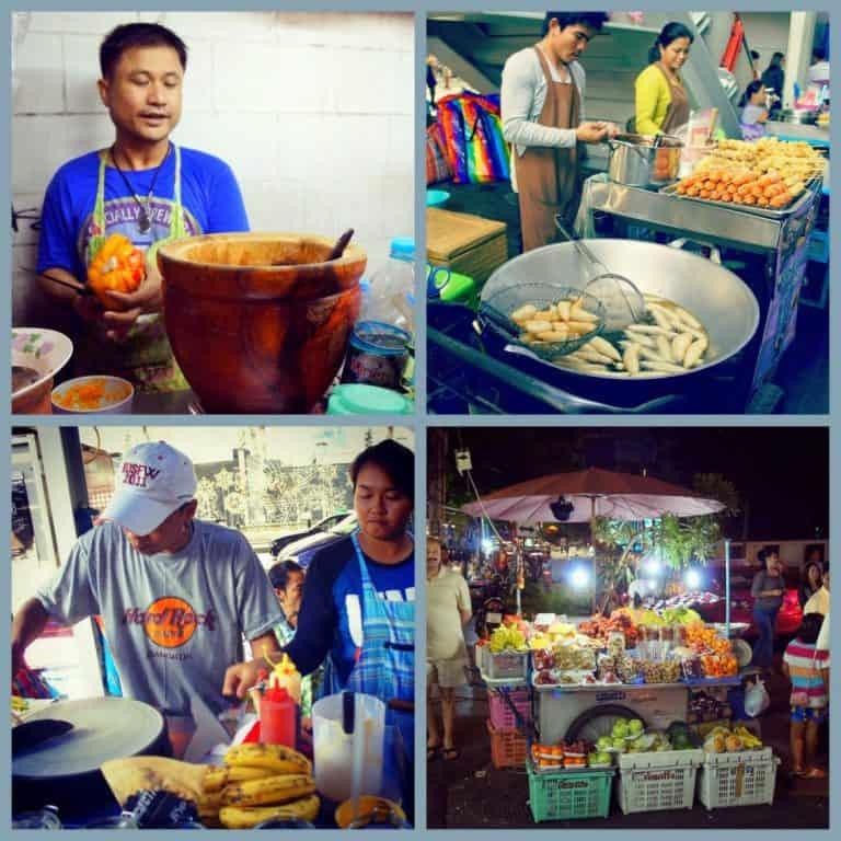 Locals prepare Thai food in the street