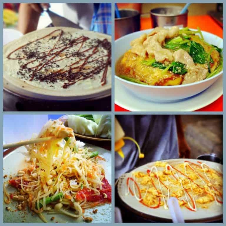 Local Thai dishes - chocolate pancakes, pork soup, papaya salad