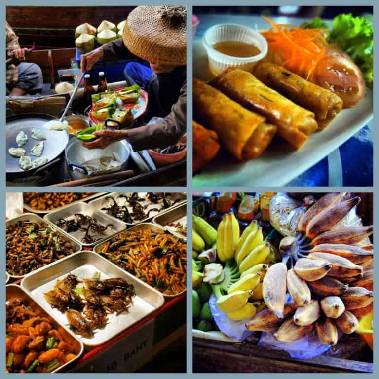 A great variety of street food in Bangkok - from local dumplings, bananas to fresh spring rolls