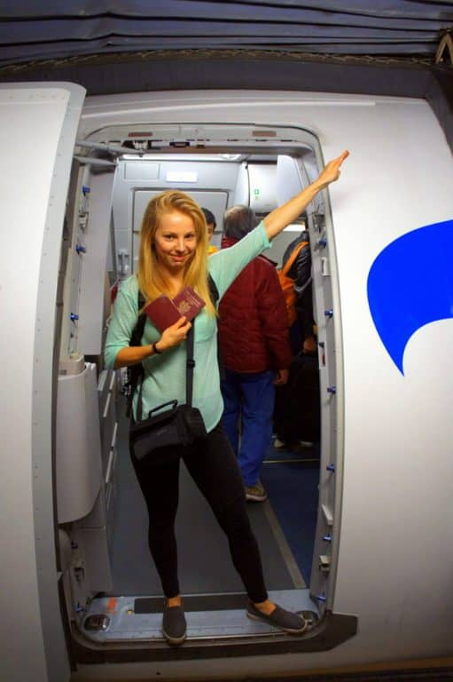 A girl on a plane