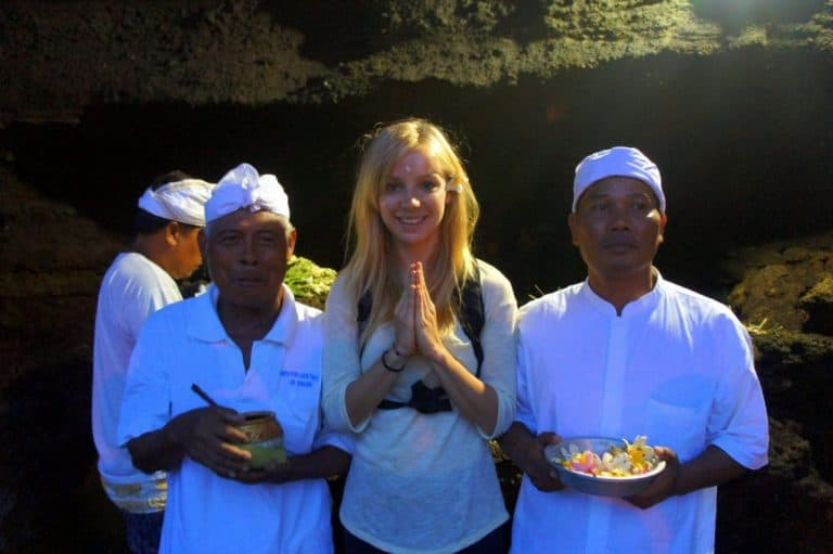 A girl in tanah Lot temple