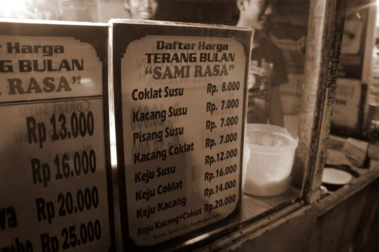 Local prices of street food in Bali