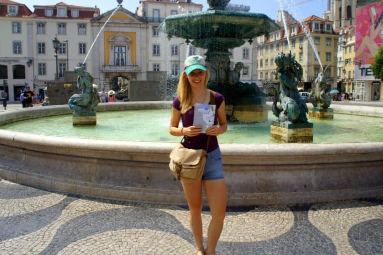 Agness with a map in Lisbon