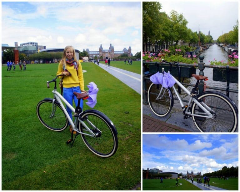 Agness on a bike Amsterdam