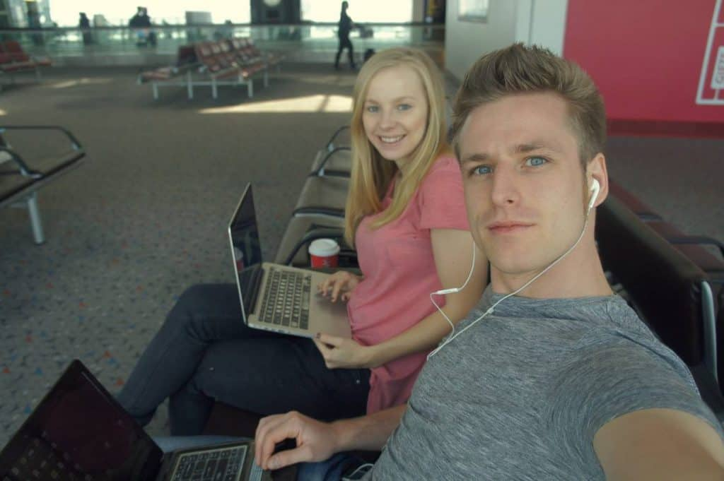Agness and Cez working at HK airport