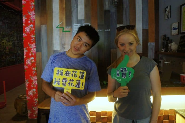 happy girl and boy in a hostel japan