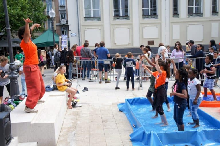 Kids playing in Luxembourg city center