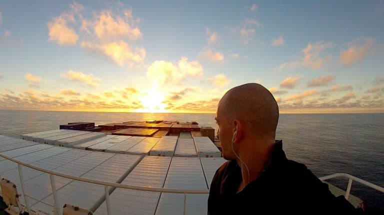 Crossing the Pacific Ocean on a cargo ship