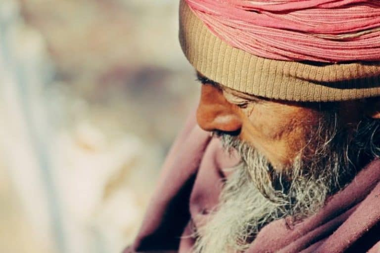 Pink hat person old mans beard