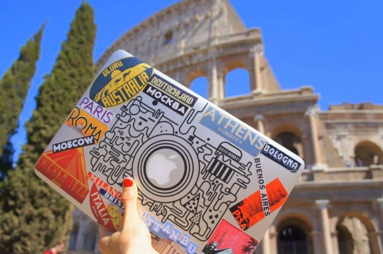 Laptop at the Colosseum