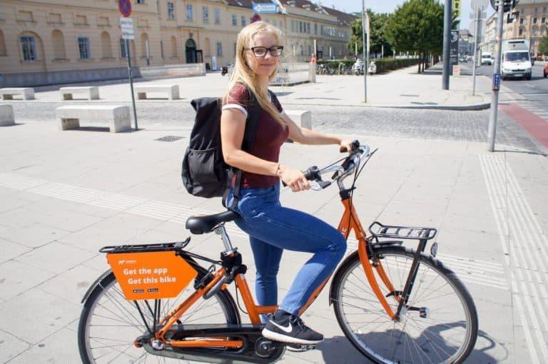 Agness on a donkey bike