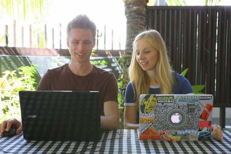 Agness and Cez working online