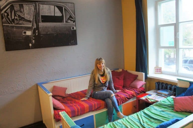 Agnes in her room in Trinity Hostel