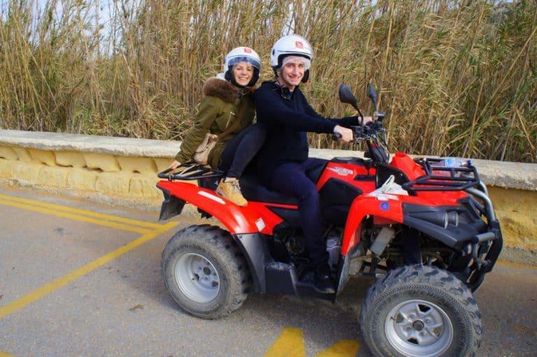 Agness with a friend on a quad bike