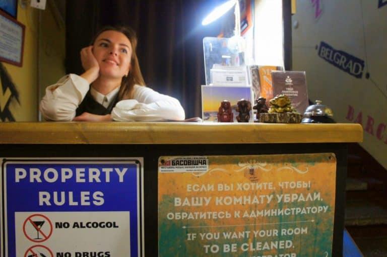 Reception in Trinity Hostel in Minsk