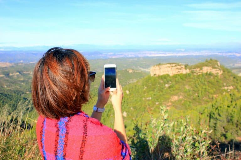 Lydia taking a picture in Monserrat