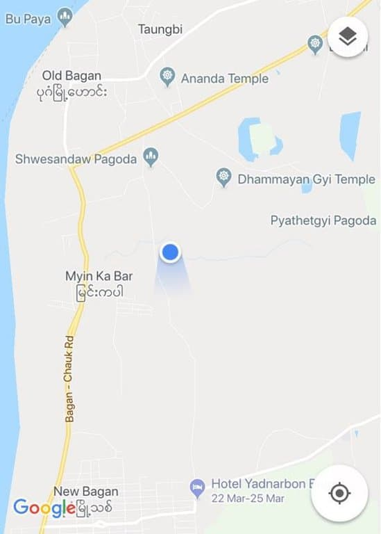Map to locate climbable temple in Bagan