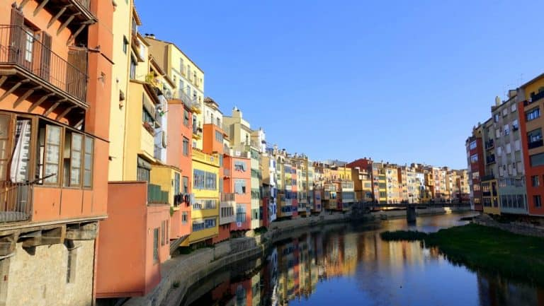 The colorful waterfront of Girona