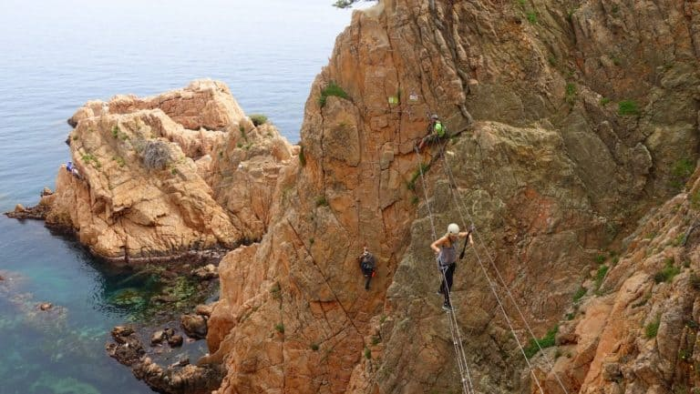 A suitably dramatic shot of me on the Via Ferrata, with Cez close behind