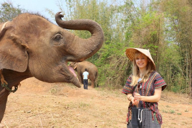 Agness and an elephant