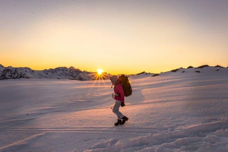 winter alpine hiking with crampons
