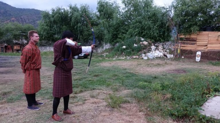 Cez had archery lessons in Bhutan