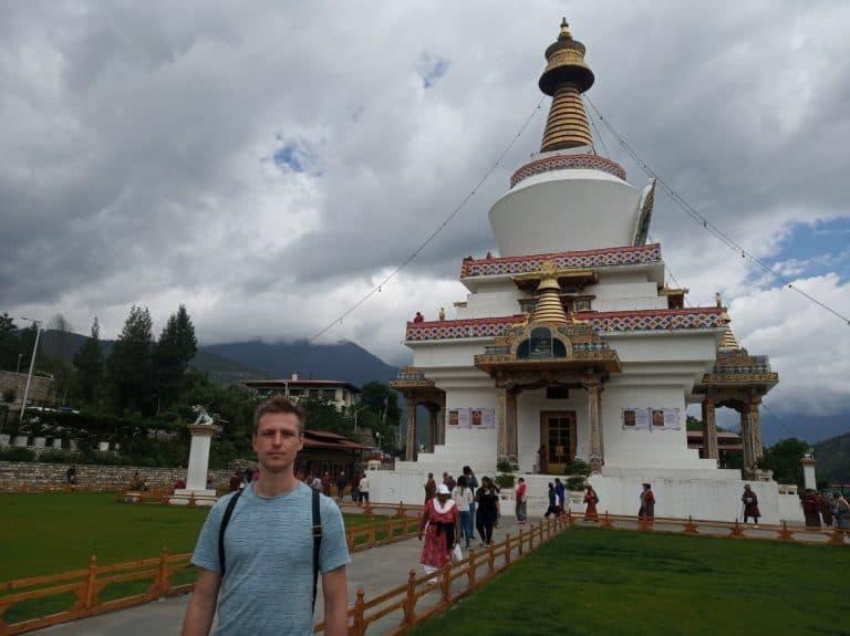 Cez standing in front of the National Memorial Chorten, Bhutan