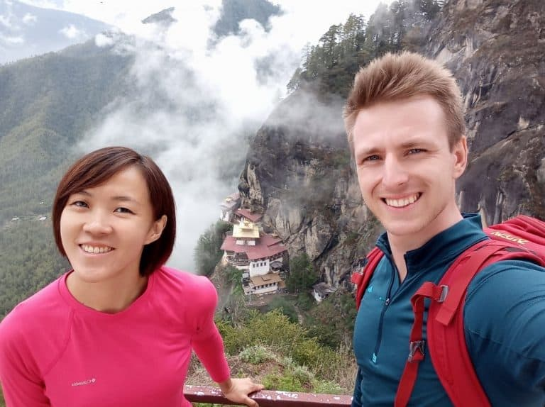 Cez and Lydia above the Tiger's Nest, Bhutan tour