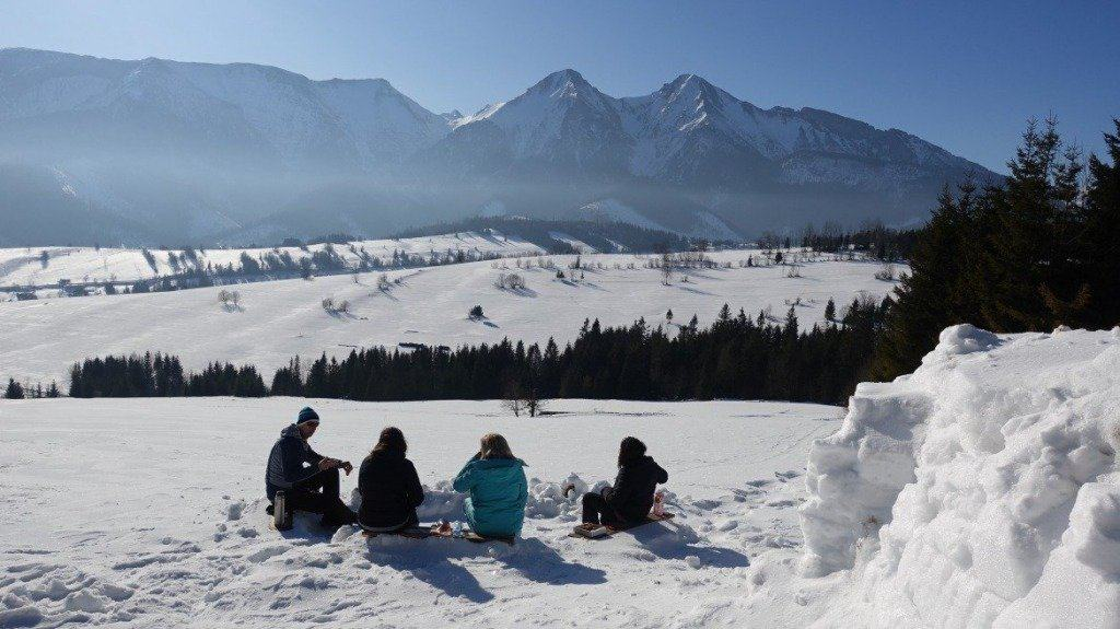 The Tatra Mountains and people enjoying the view
