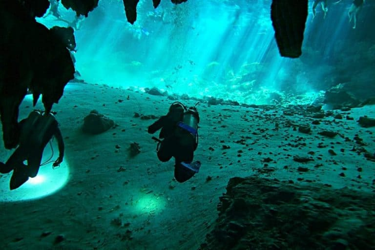 Diver In Dos Ojos Cenote 7