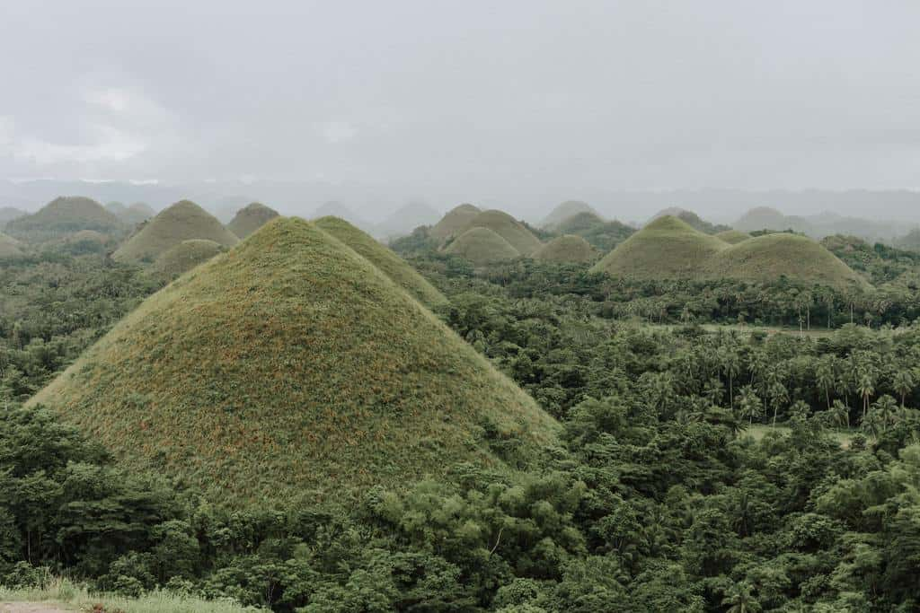Hundreds of uniformly shaped hills on the island of Bohol.
