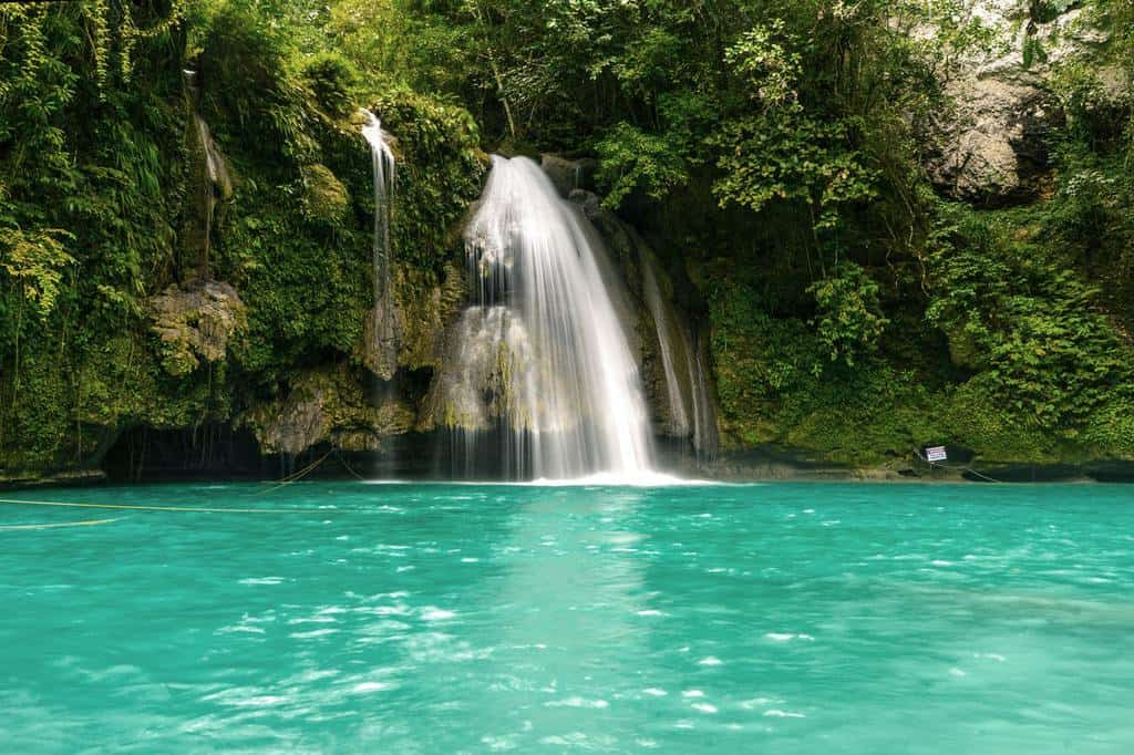 The Kawasan waterfalls which end in a fresh water pool.