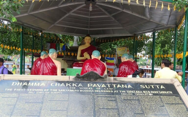 Gautam Buddha And Giving A Sermon To His First Five Disciples