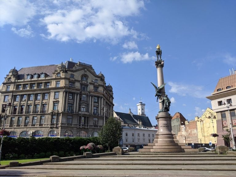 Adam Mickewicz Monument in Lviv Ukraine